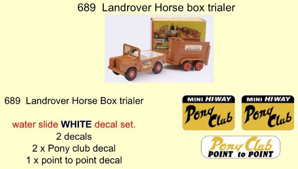 689 Tri-ang Landrover Horse box trailer Decal set